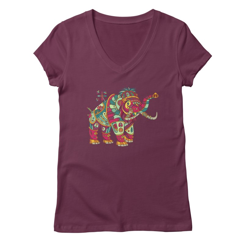 Mammoth, cool art from the AlphaPod Collection Women's Regular V-Neck by AlphaPod