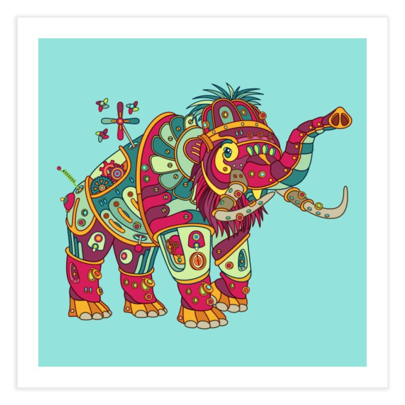 Mammoth, cool wall art for kids and adults alike Home Fine Art Print by AlphaPod