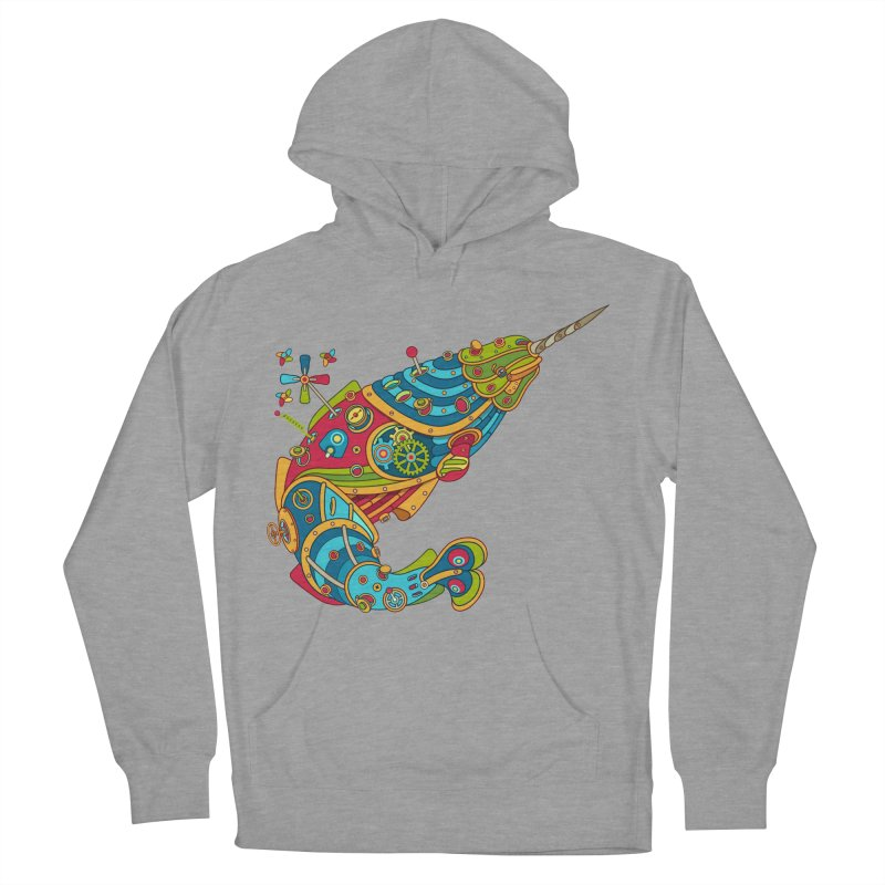 Narwhal, cool art from the AlphaPod Collection Men's French Terry Pullover Hoody by AlphaPod