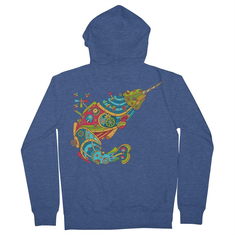 Narwhal, cool art from the AlphaPod Collection Men's Zip-Up Hoody by AlphaPod