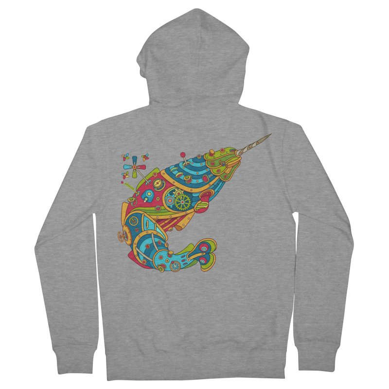 Narwhal, cool art from the AlphaPod Collection Men's French Terry Zip-Up Hoody by AlphaPod