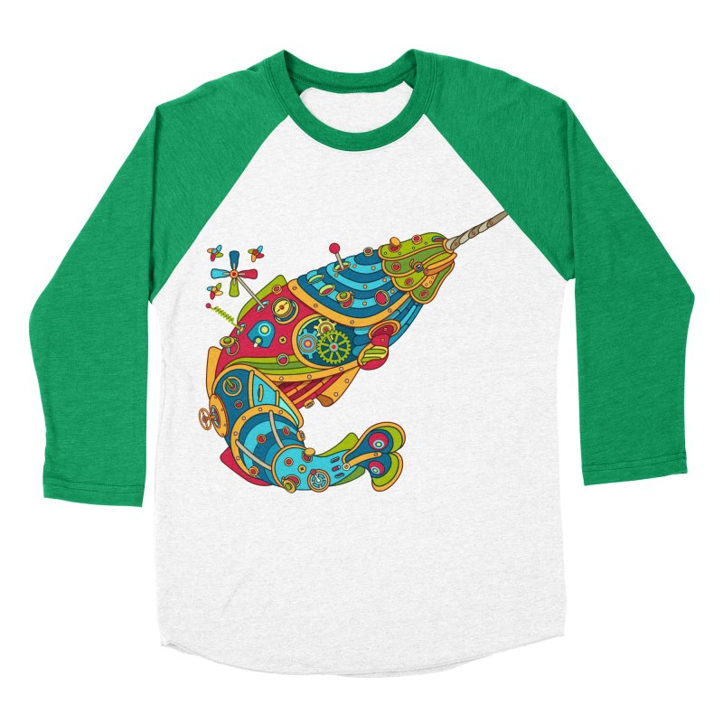Narwhal, cool art from the AlphaPod Collection Men's Baseball Triblend Longsleeve T-Shirt by AlphaPod