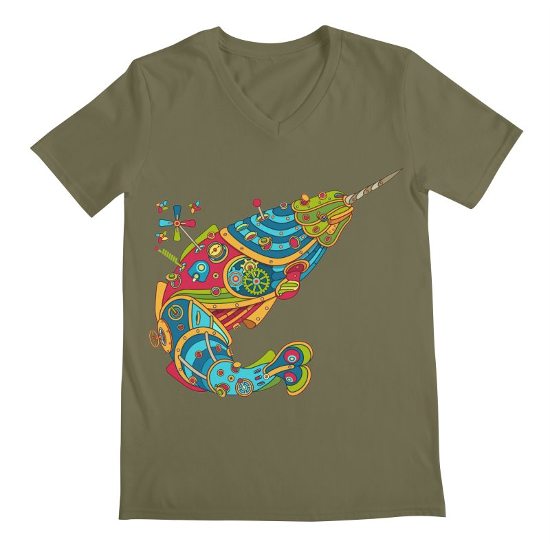 Narwhal, cool art from the AlphaPod Collection Men's Regular V-Neck by AlphaPod