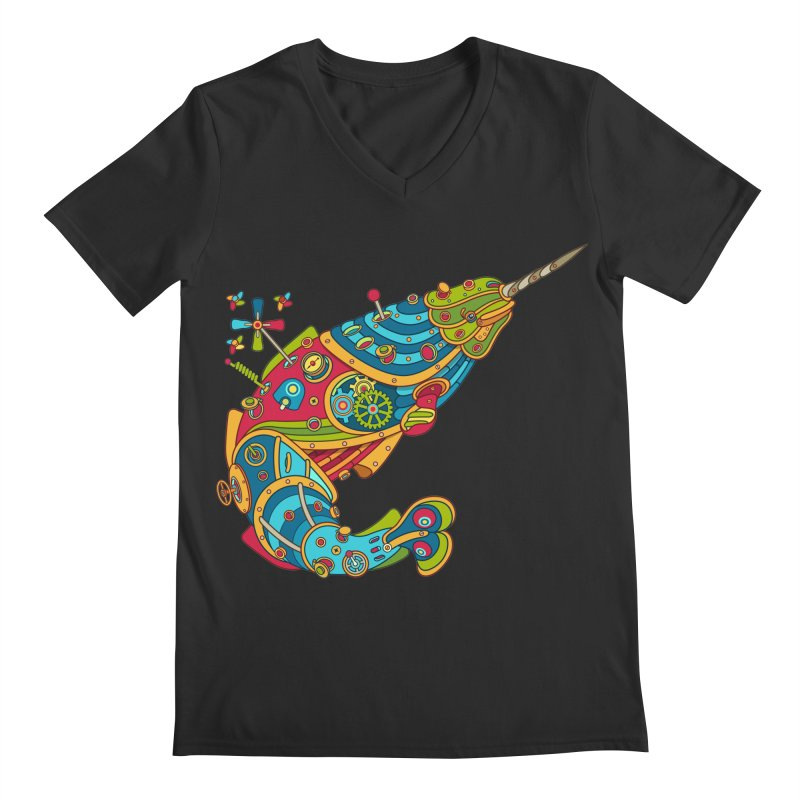 Narwhal, cool art from the AlphaPod Collection Men's V-Neck by AlphaPod