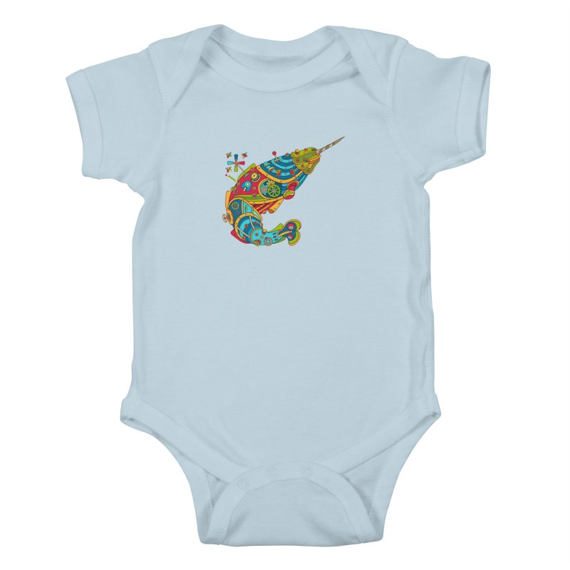 Narwhal, cool art from the AlphaPod Collection Kids Baby Bodysuit by AlphaPod