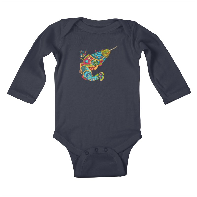 Narwhal, cool art from the AlphaPod Collection Kids Baby Longsleeve Bodysuit by AlphaPod