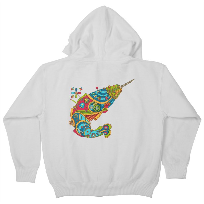 Narwhal, cool art from the AlphaPod Collection Kids Zip-Up Hoody by AlphaPod