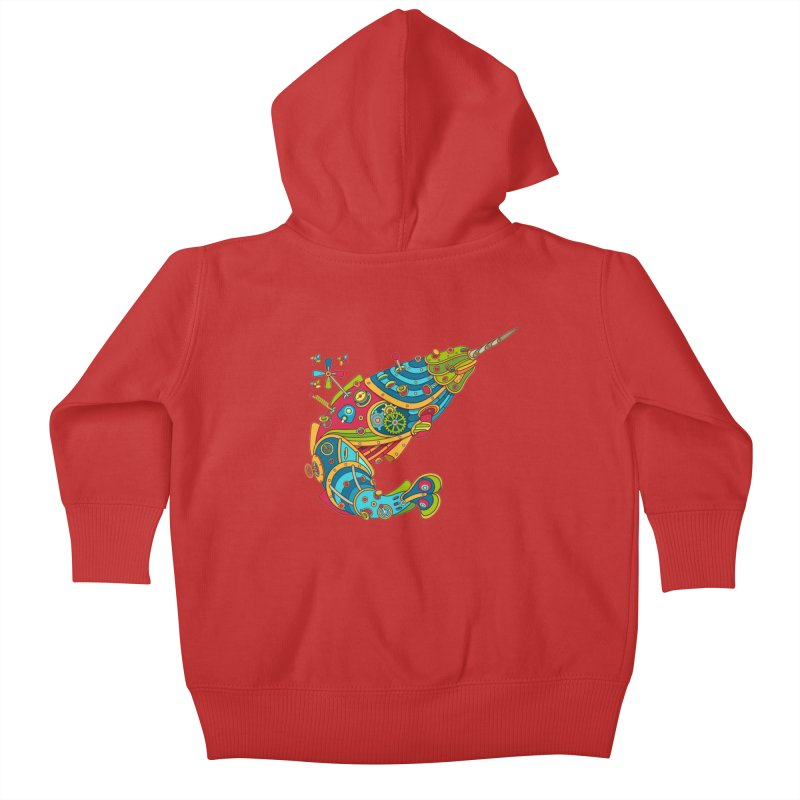 Narwhal, cool art from the AlphaPod Collection Kids Baby Zip-Up Hoody by AlphaPod