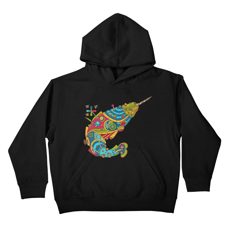 Narwhal, cool art from the AlphaPod Collection Kids Pullover Hoody by AlphaPod