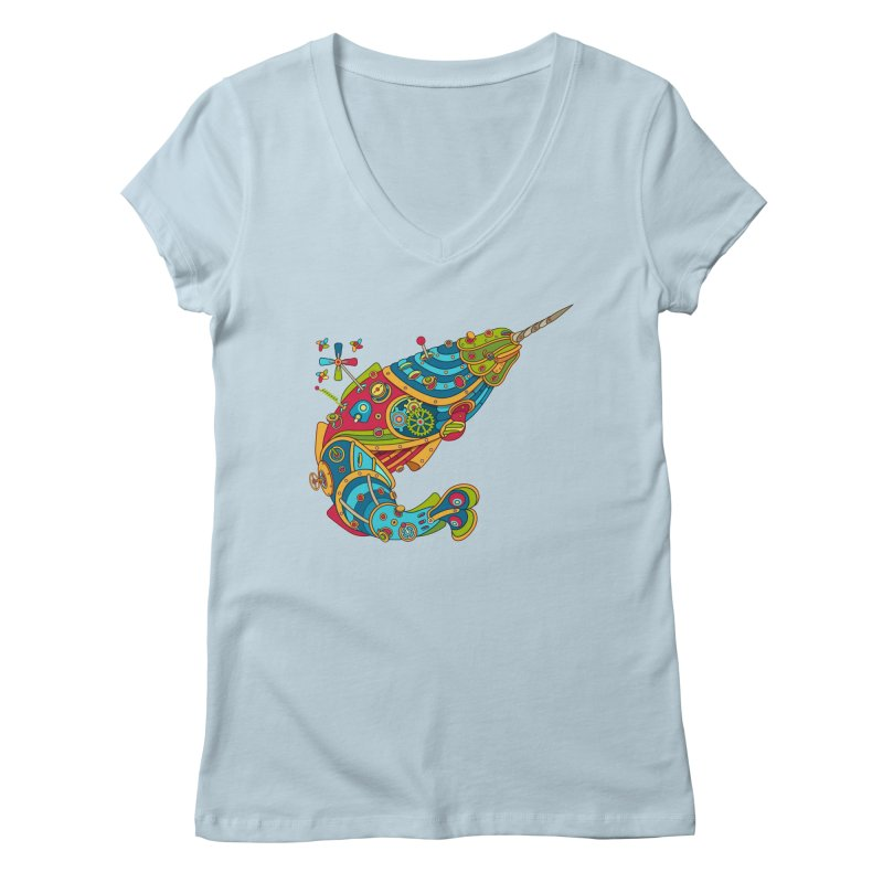 Narwhal, cool art from the AlphaPod Collection Women's V-Neck by AlphaPod