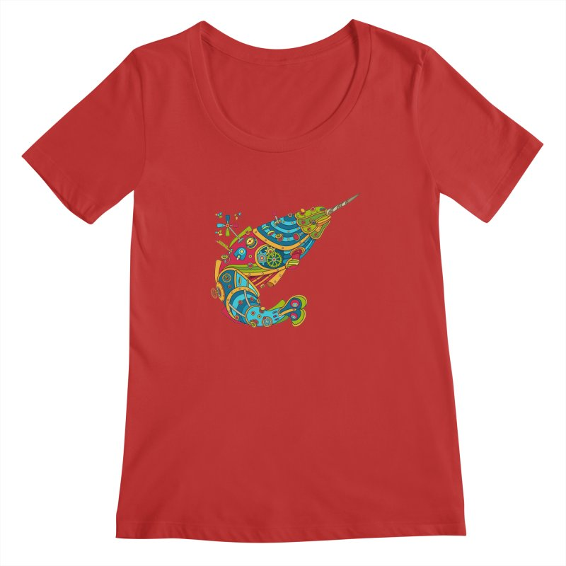 Narwhal, cool art from the AlphaPod Collection Women's Regular Scoop Neck by AlphaPod