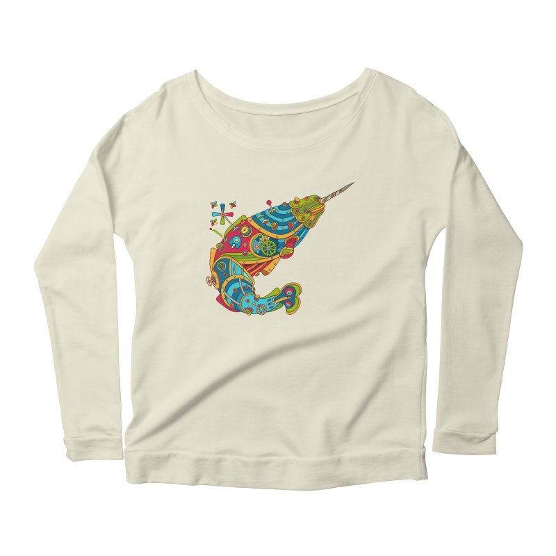 Narwhal, cool art from the AlphaPod Collection Women's Scoop Neck Longsleeve T-Shirt by AlphaPod