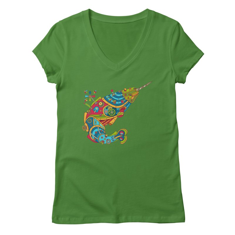 Narwhal, cool art from the AlphaPod Collection Women's Regular V-Neck by AlphaPod