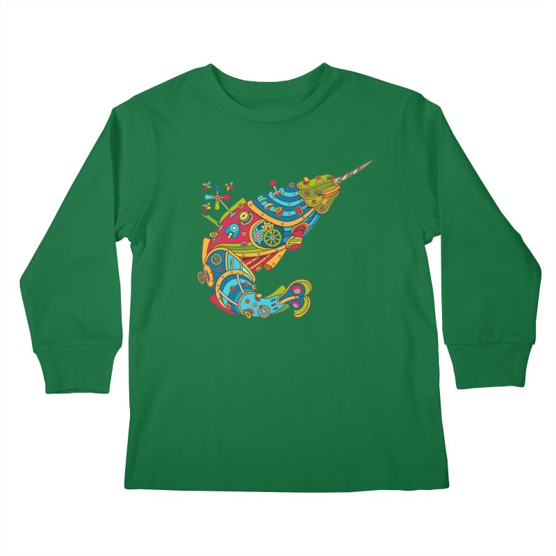 Narwhal, cool art from the AlphaPod Collection Kids Longsleeve T-Shirt by AlphaPod