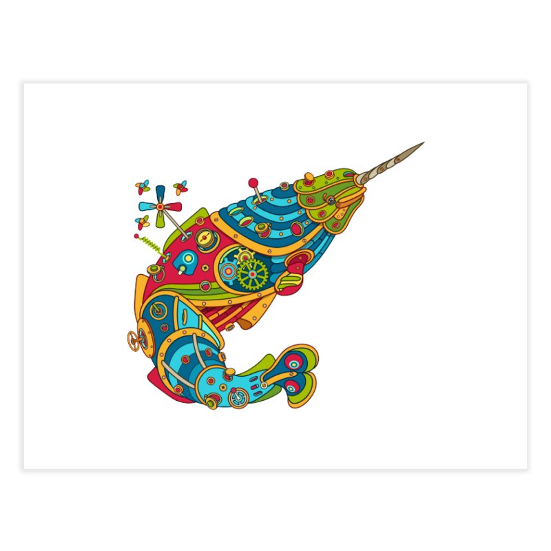 Narwhal, cool art from the AlphaPod Collection Home Fine Art Print by AlphaPod