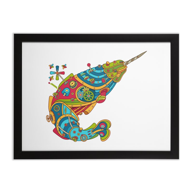 Narwhal, cool art from the AlphaPod Collection Home Framed Fine Art Print by AlphaPod