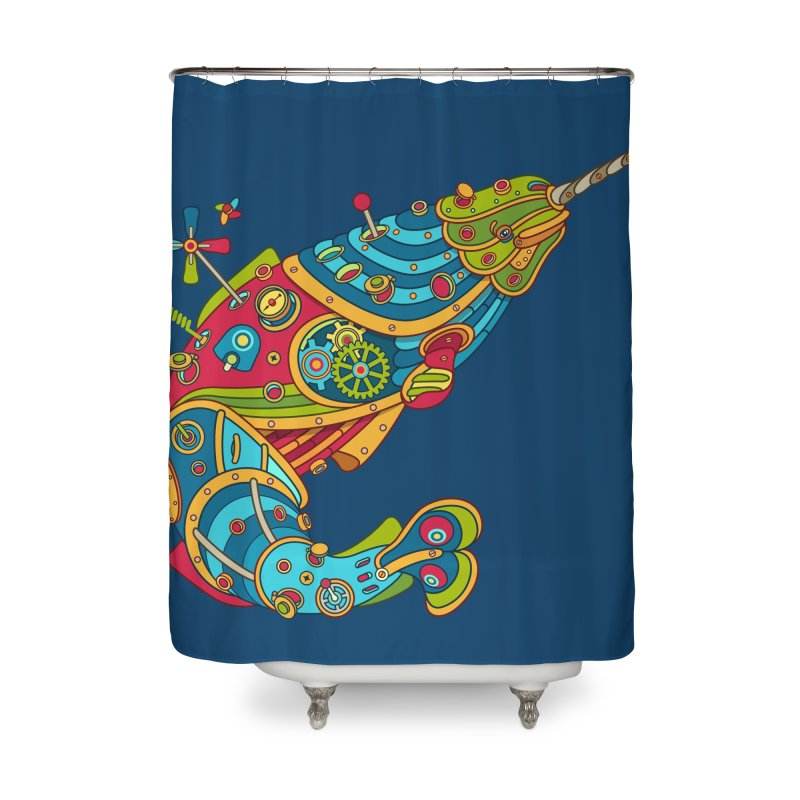 Narwhal, cool art from the AlphaPod Collection Home Shower Curtain by AlphaPod