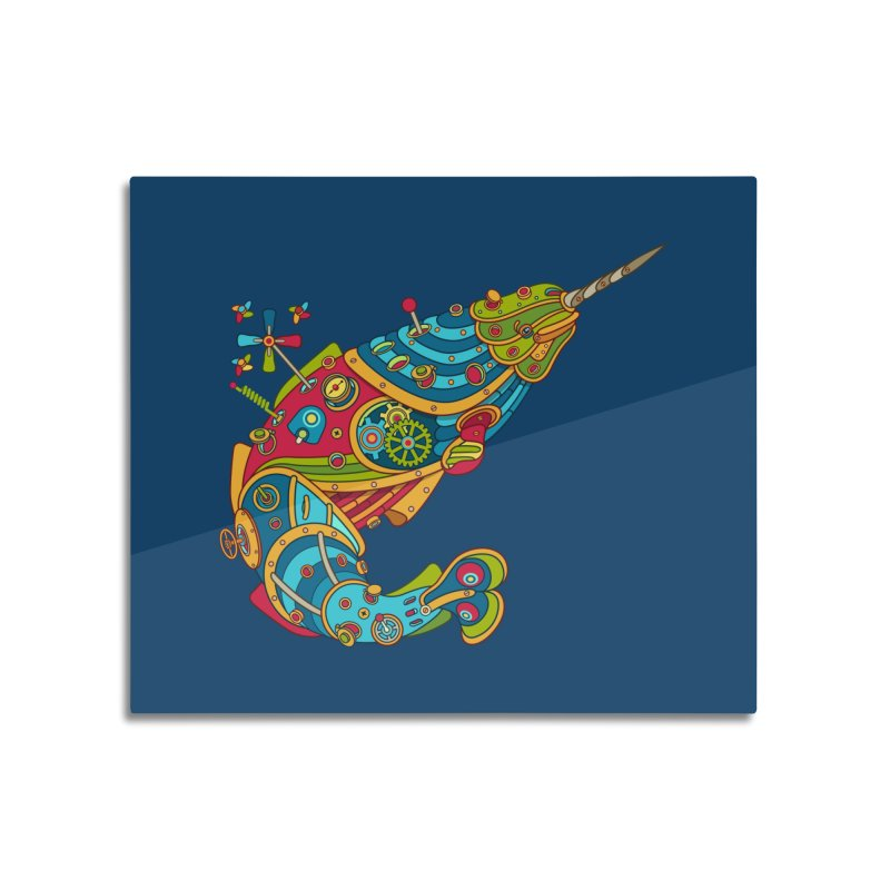 Narwhal, cool art from the AlphaPod Collection Home Mounted Aluminum Print by AlphaPod
