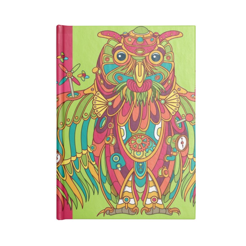 Owl, cool art from the AlphaPod Collection Accessories Lined Journal Notebook by AlphaPod