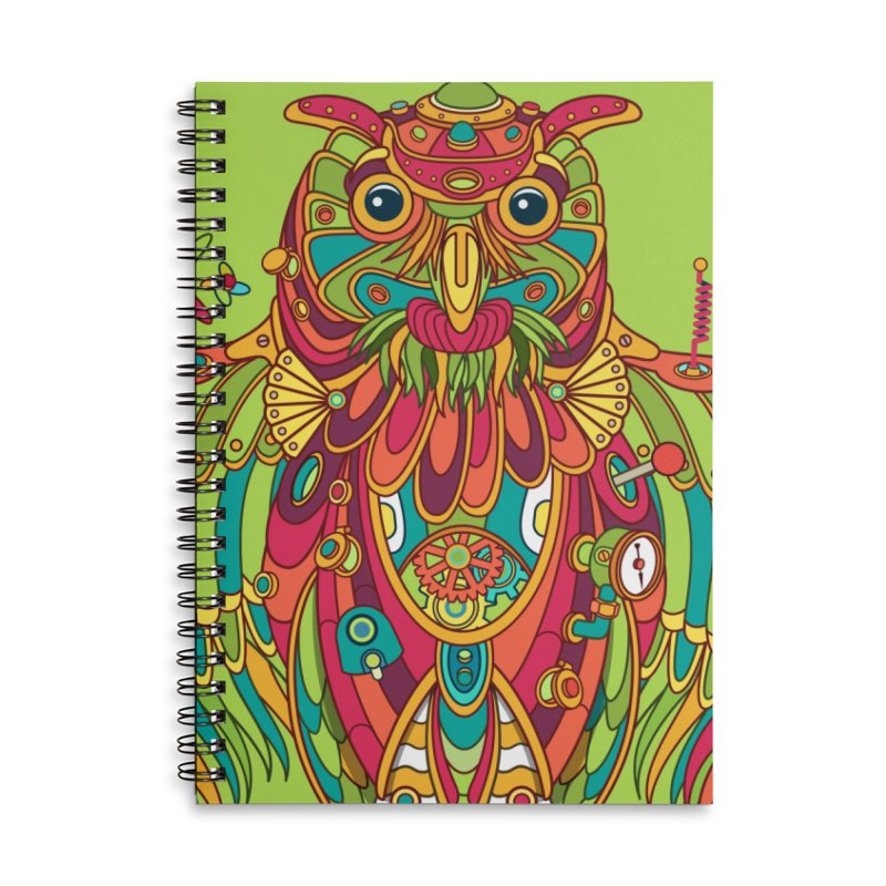Owl, cool art from the AlphaPod Collection Accessories Lined Spiral Notebook by AlphaPod