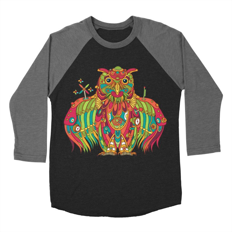 Owl, cool art from the AlphaPod Collection Women's Baseball Triblend Longsleeve T-Shirt by AlphaPod