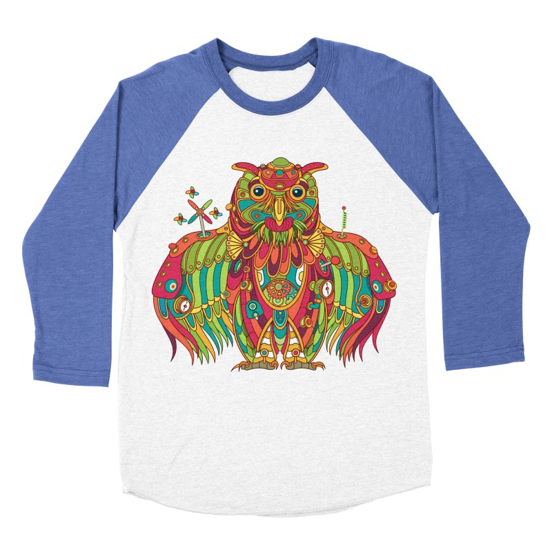 Owl, cool art from the AlphaPod Collection Men's Baseball Triblend Longsleeve T-Shirt by AlphaPod