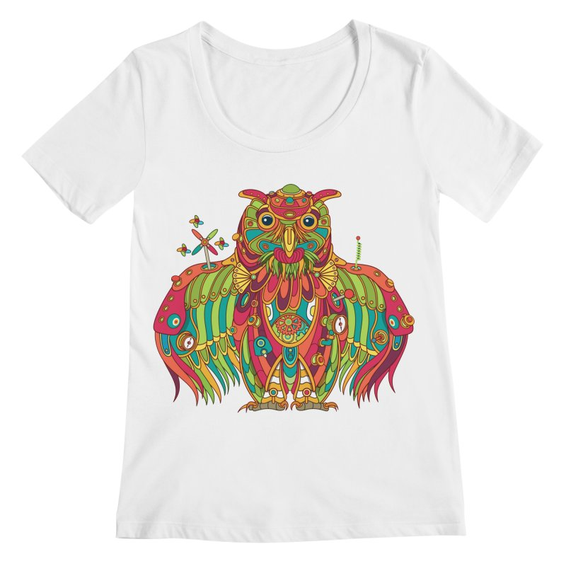 Owl, cool art from the AlphaPod Collection Women's Regular Scoop Neck by AlphaPod