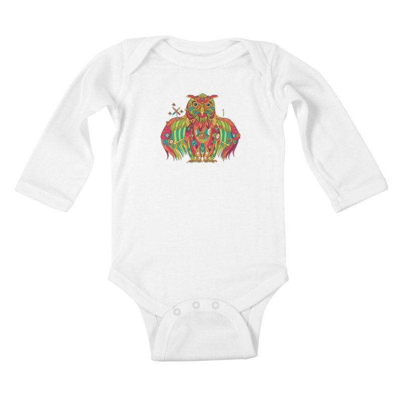 Owl, cool art from the AlphaPod Collection Kids Baby Longsleeve Bodysuit by AlphaPod