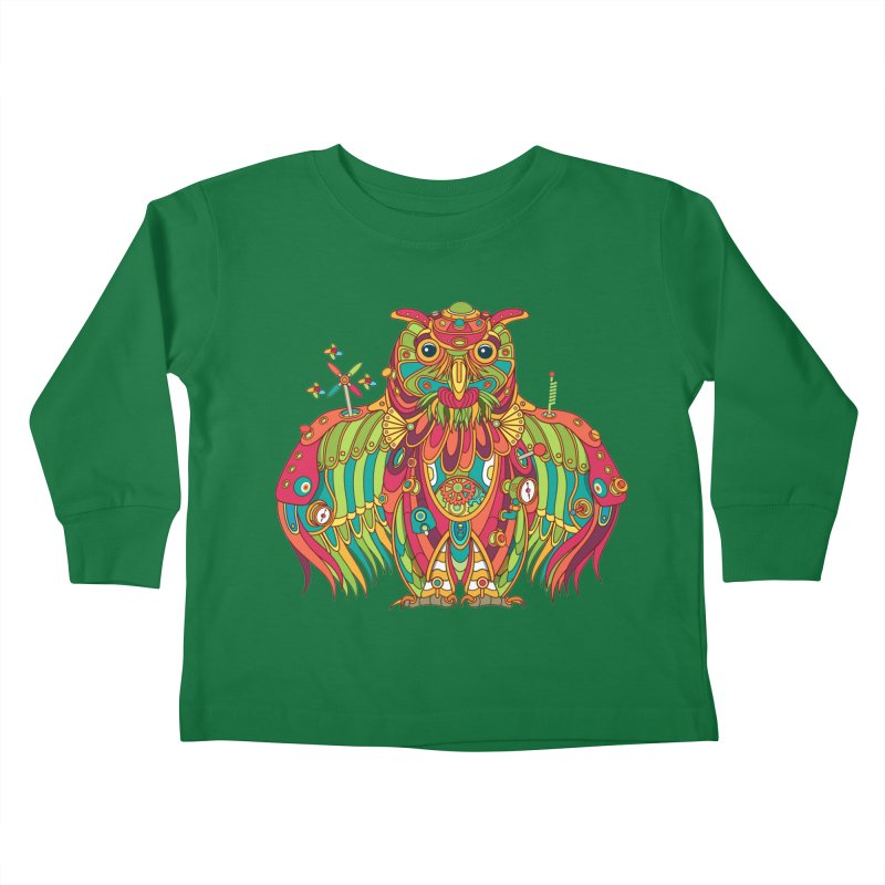Owl, cool art from the AlphaPod Collection Kids Toddler Longsleeve T-Shirt by AlphaPod