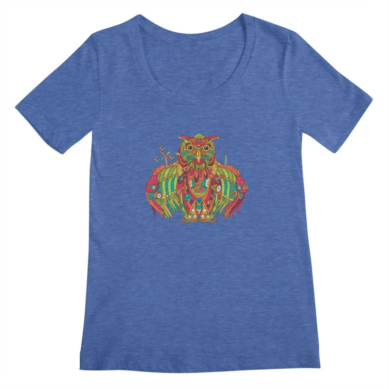 Owl, cool art from the AlphaPod Collection Women's Scoopneck by AlphaPod