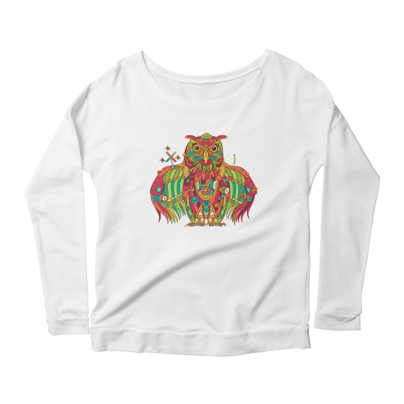 Owl, cool art from the AlphaPod Collection Women's Scoop Neck Longsleeve T-Shirt by AlphaPod