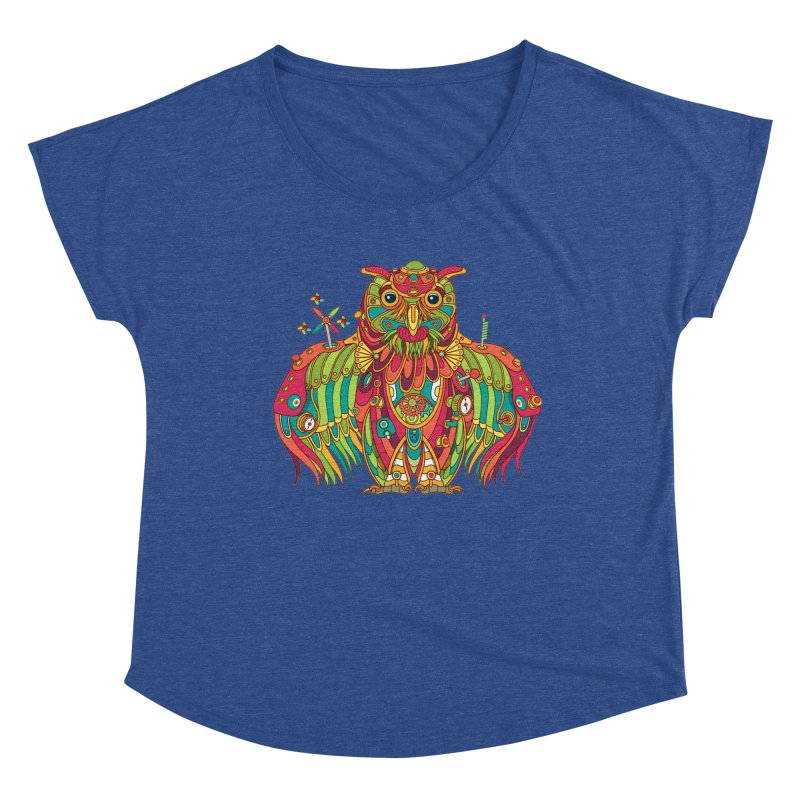 Owl, cool art from the AlphaPod Collection Women's Scoop Neck by AlphaPod