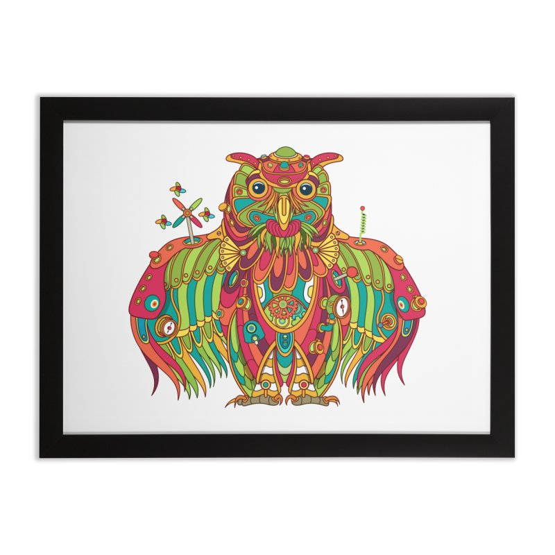 Owl, cool art from the AlphaPod Collection Home Framed Fine Art Print by AlphaPod