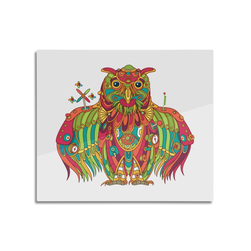 Owl, cool art from the AlphaPod Collection Home Mounted Aluminum Print by AlphaPod