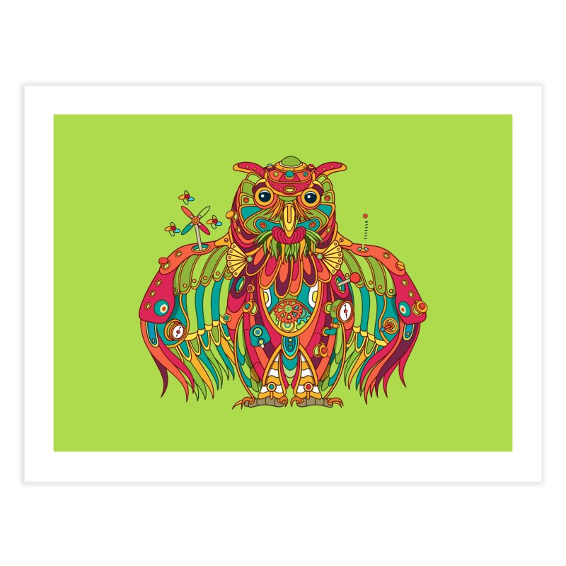Owl, cool art from the AlphaPod Collection Home Fine Art Print by AlphaPod