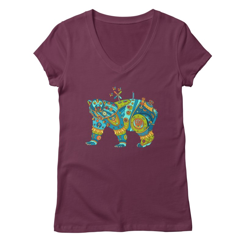Polar Bear, cool art from the AlphaPod Collection Women's V-Neck by AlphaPod