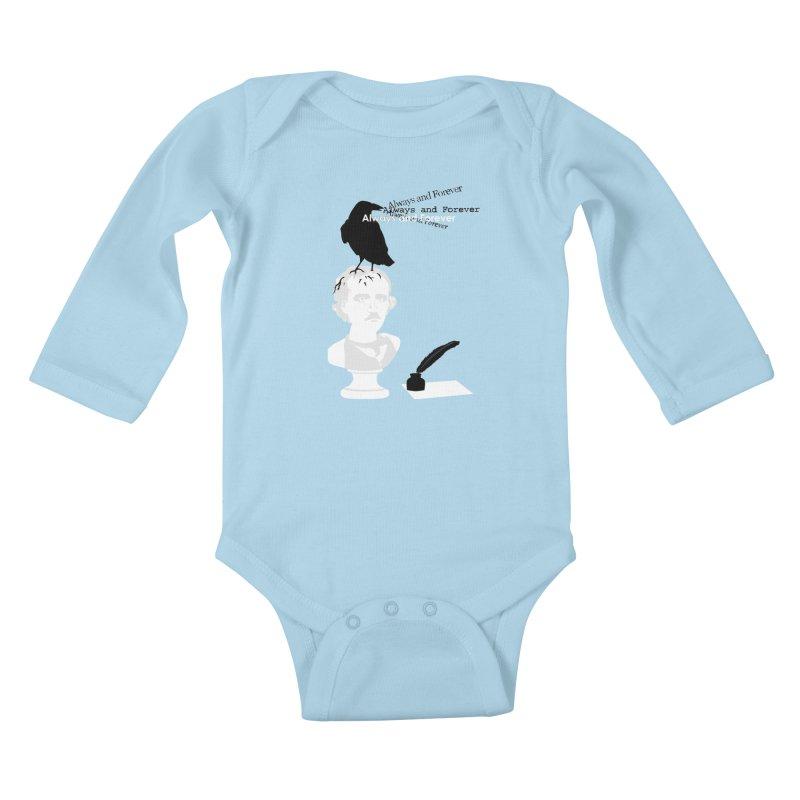 Edgar Allan Poe Kids Baby Longsleeve Bodysuit by Alpha Ryan's Artist Shop
