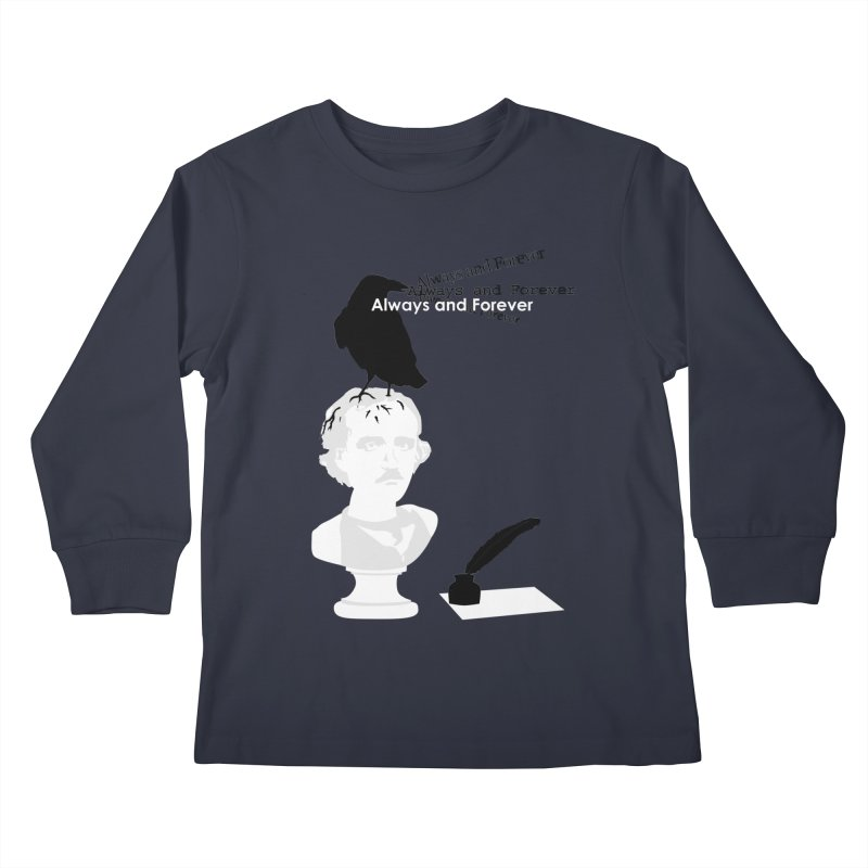 Edgar Allan Poe Kids Longsleeve T-Shirt by Alpha Ryan's Artist Shop