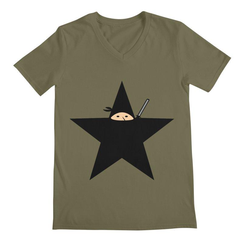 Ninja Star Men's V-Neck by Alpha Ryan's Artist Shop