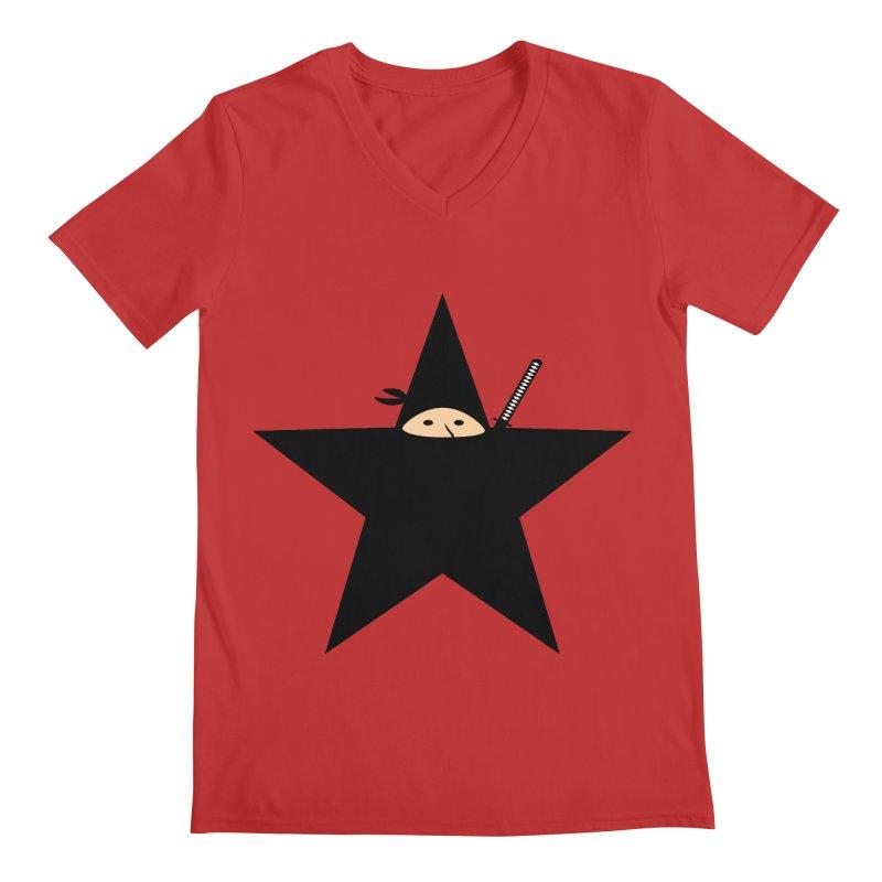 Ninja Star Men's Regular V-Neck by Alpha Ryan's Artist Shop