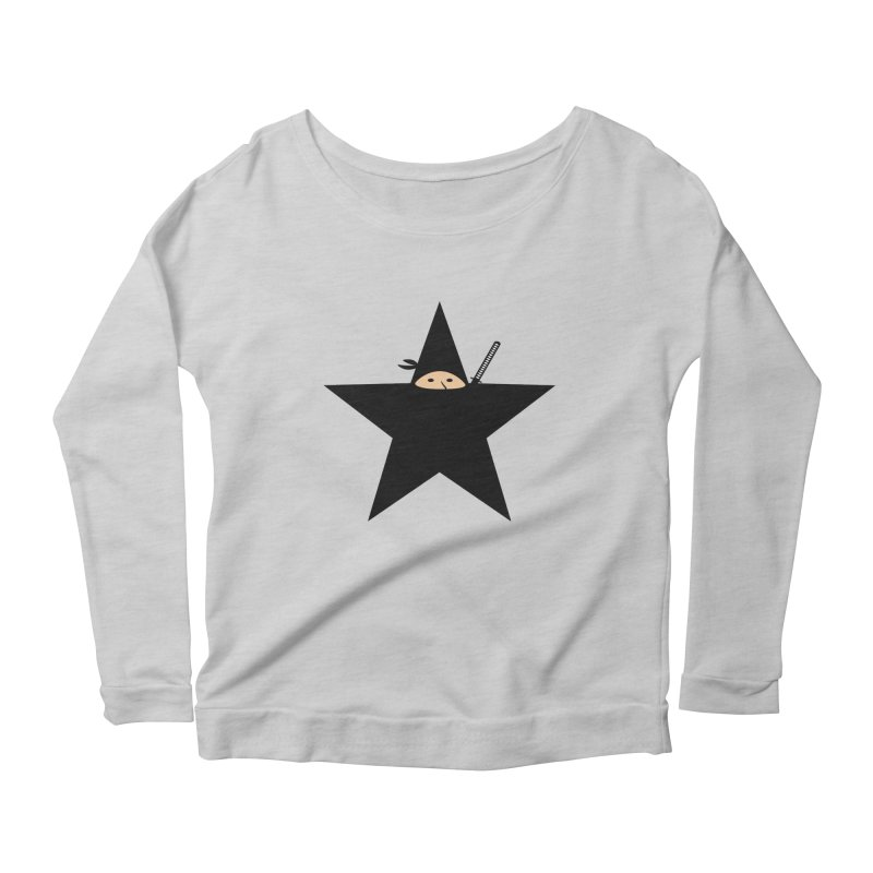 Ninja Star Women's Longsleeve Scoopneck  by Alpha Ryan's Artist Shop