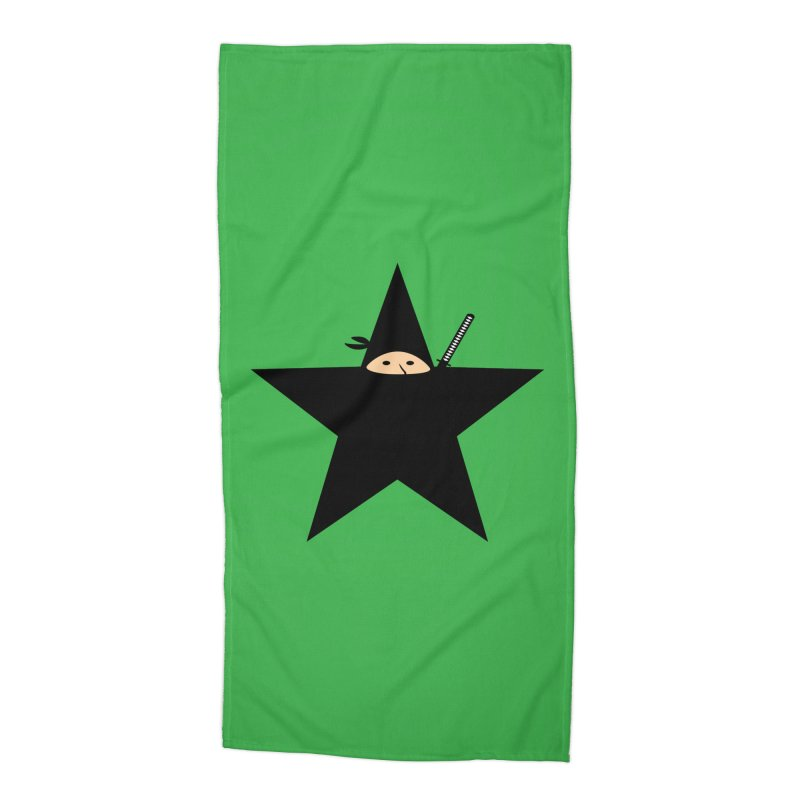Ninja Star Accessories Beach Towel by Alpha Ryan's Artist Shop