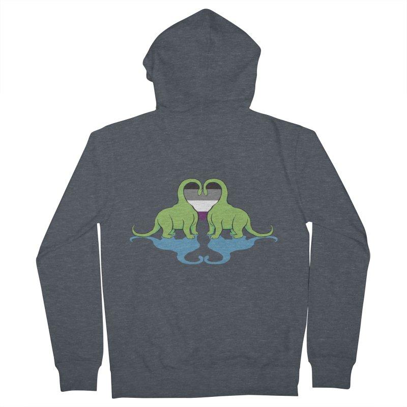 Ace Pride - Dino Love Men's Zip-Up Hoody by alrkeaton's Artist Shop
