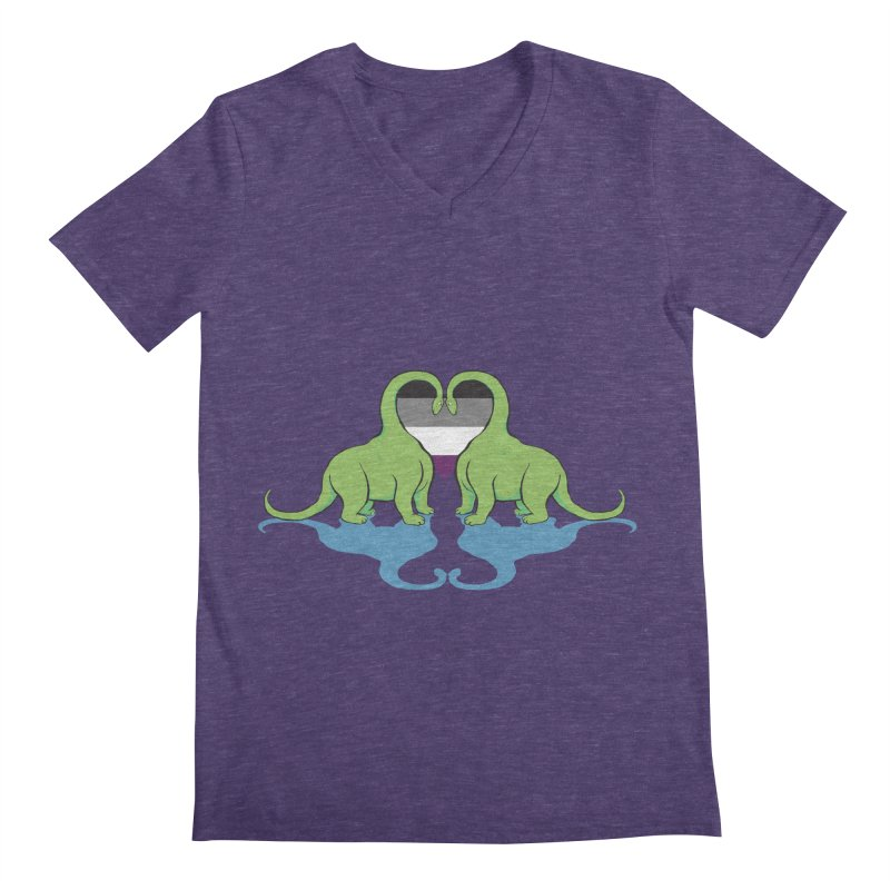 Ace Pride - Dino Love Men's Regular V-Neck by alrkeaton's Artist Shop