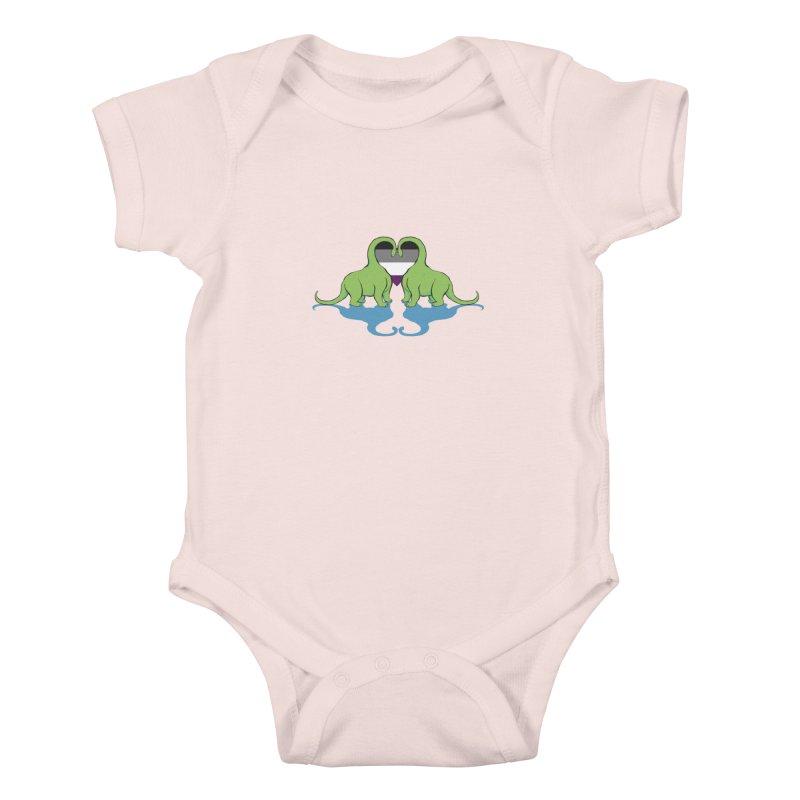 Ace Pride - Dino Love Kids Baby Bodysuit by alrkeaton's Artist Shop
