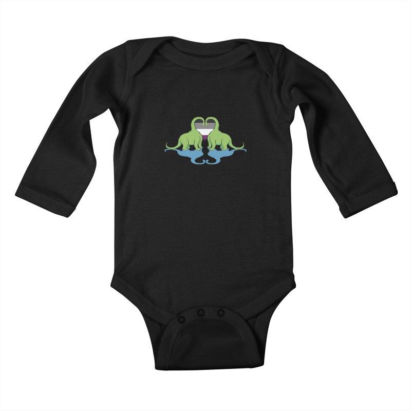 Ace Pride - Dino Love Kids Baby Longsleeve Bodysuit by alrkeaton's Artist Shop