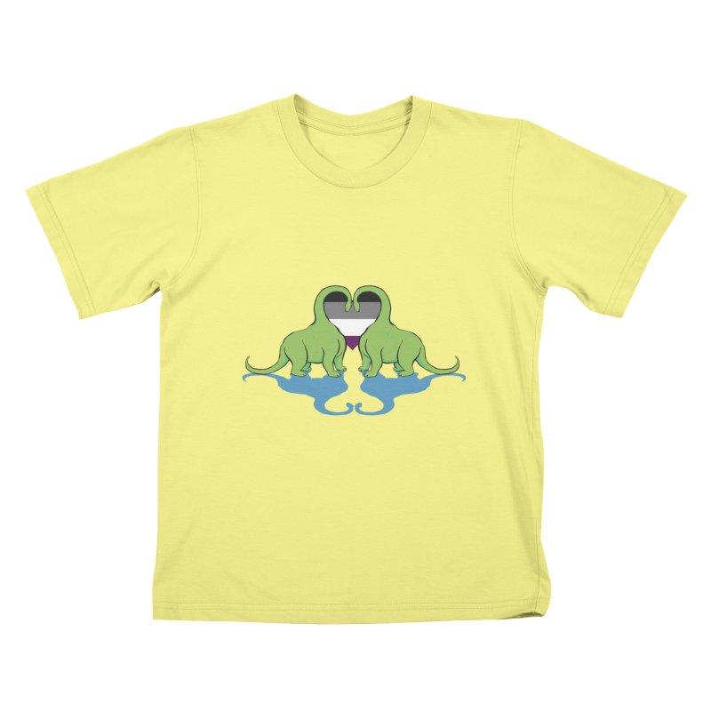 Ace Pride - Dino Love Kids T-shirt by alrkeaton's Artist Shop