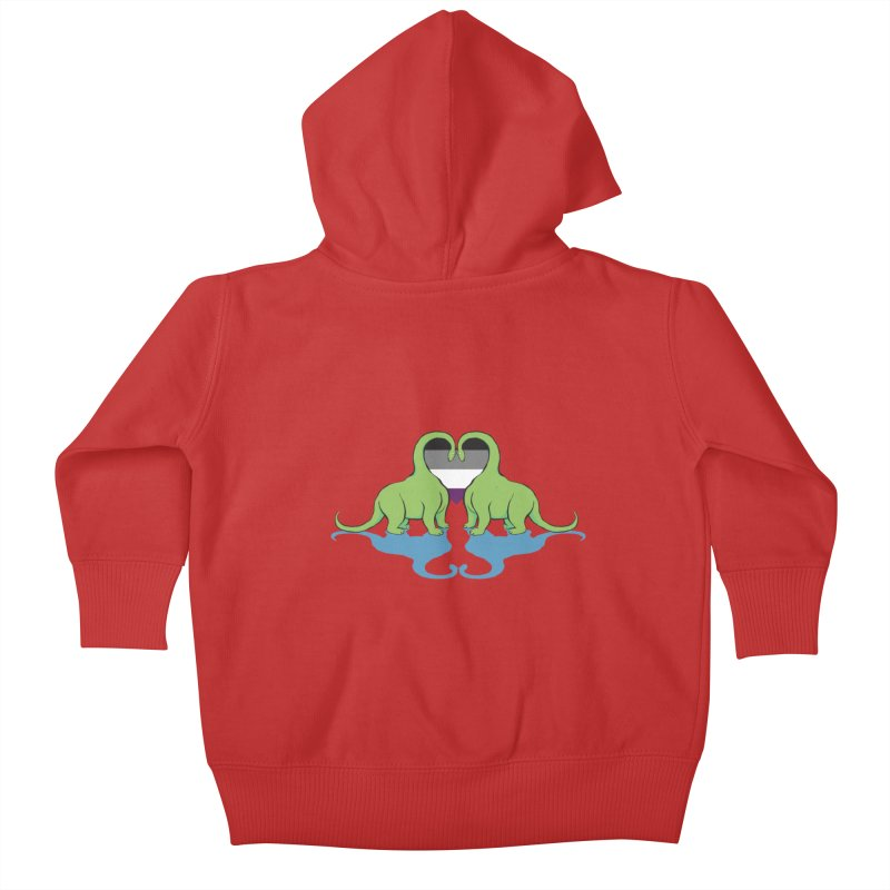 Ace Pride - Dino Love Kids Baby Zip-Up Hoody by alrkeaton's Artist Shop