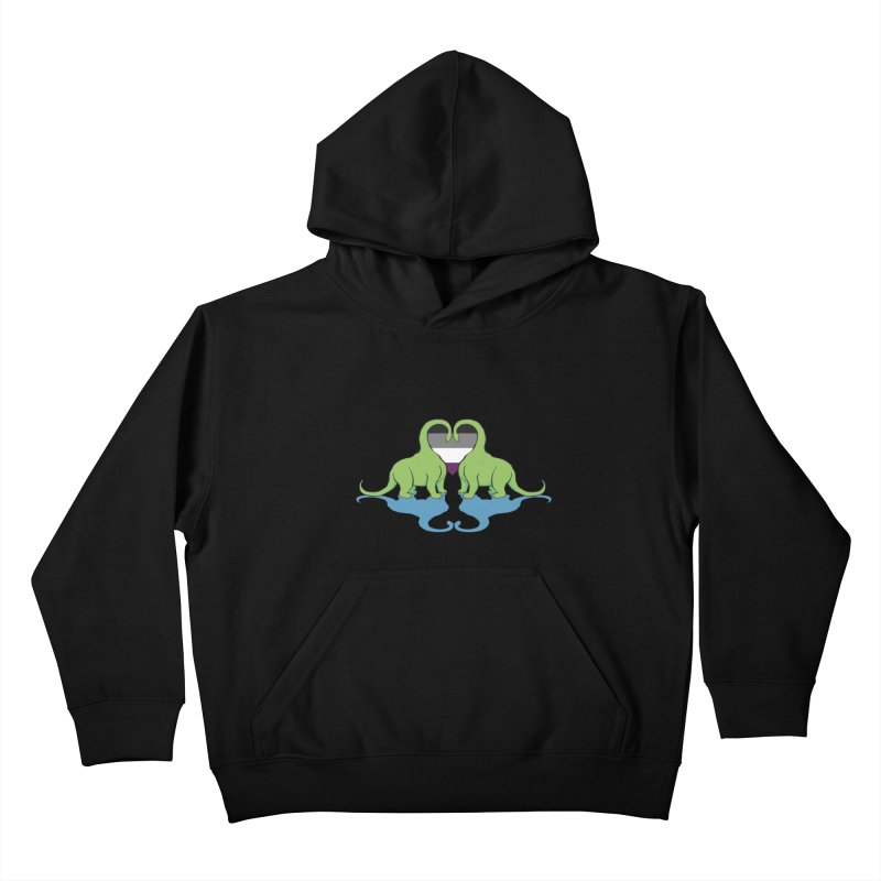 Ace Pride - Dino Love Kids Pullover Hoody by alrkeaton's Artist Shop