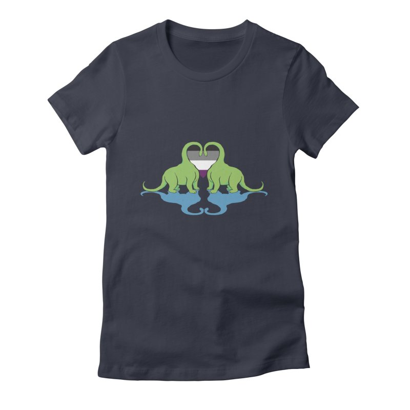 Ace Pride - Dino Love Women's Fitted T-Shirt by alrkeaton's Artist Shop